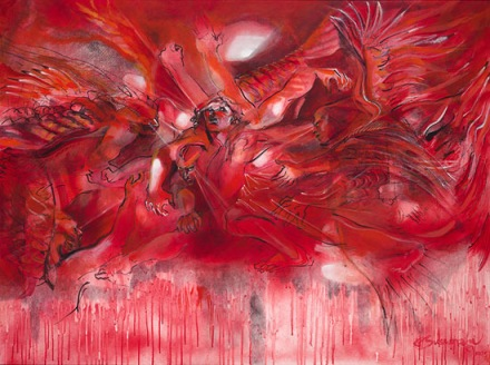 Jacob Wrestles the Angel, by Arthur Sussman http://www.arthursussmangallery.com/